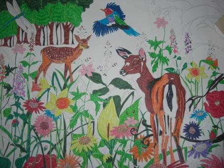Colouring in. Felt tip pen. 3ft x 1.5ft(Framed) Price: £150.00