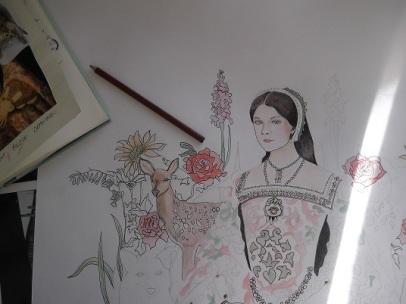 Unfinished pencil drawing of Anne Boleyn