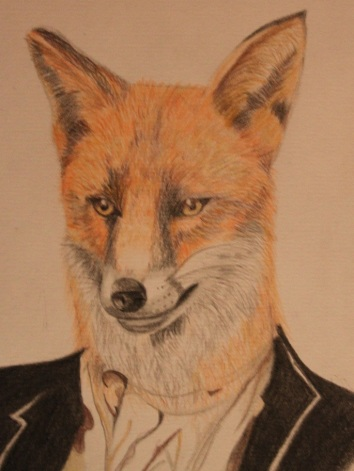 Fith drawing in the Hybrid series. Fox Man.