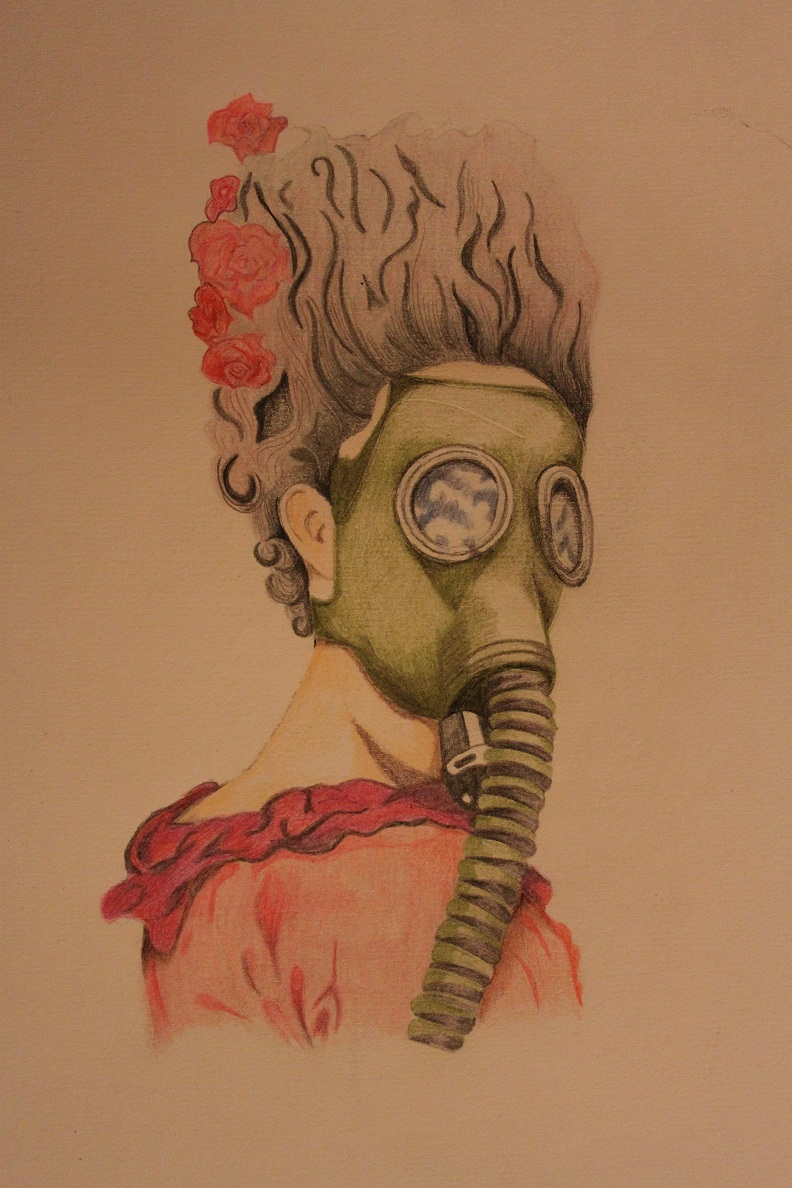 Army Gas Mask Drawing Antoinette in a Gas Mask