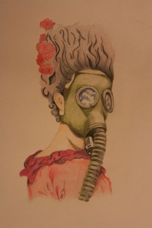 Marie Antoinette in a gas mask