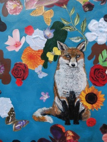 Hand painted fox with decoupaged flowers