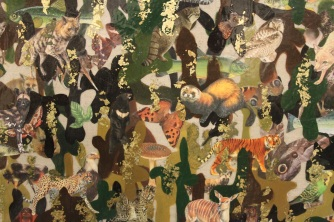 I have used gold leaf, oil paint and decoupaged animals in this camouflage painting.