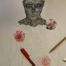 Start of drawing with decoupaged flowers.
