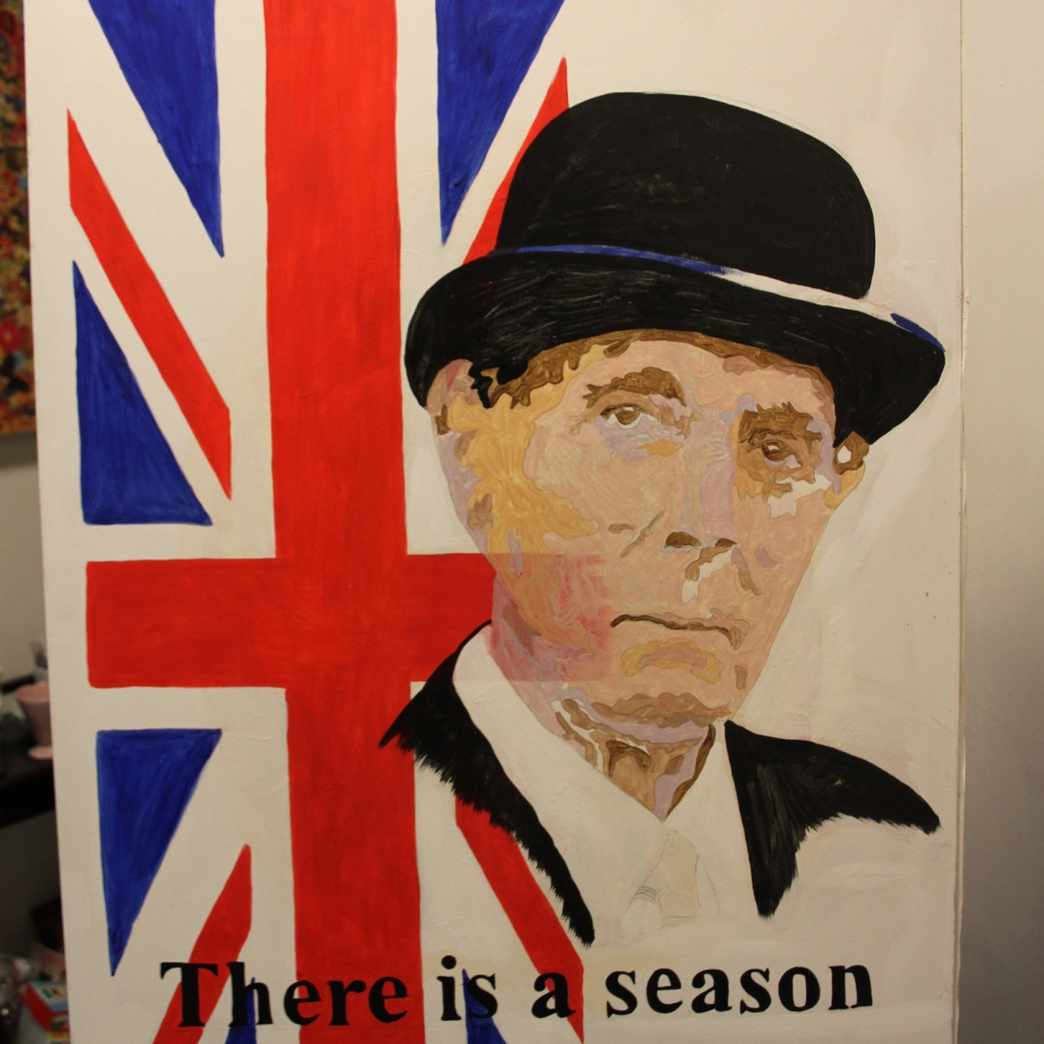 Start of my new painting of Eric Sykes. I will be decoupaging flowers and painting motifs with oil glazes.