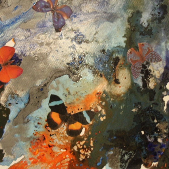 Mixed media painting using acrylic, oil and metallic paints with decoupaged butterflies.
