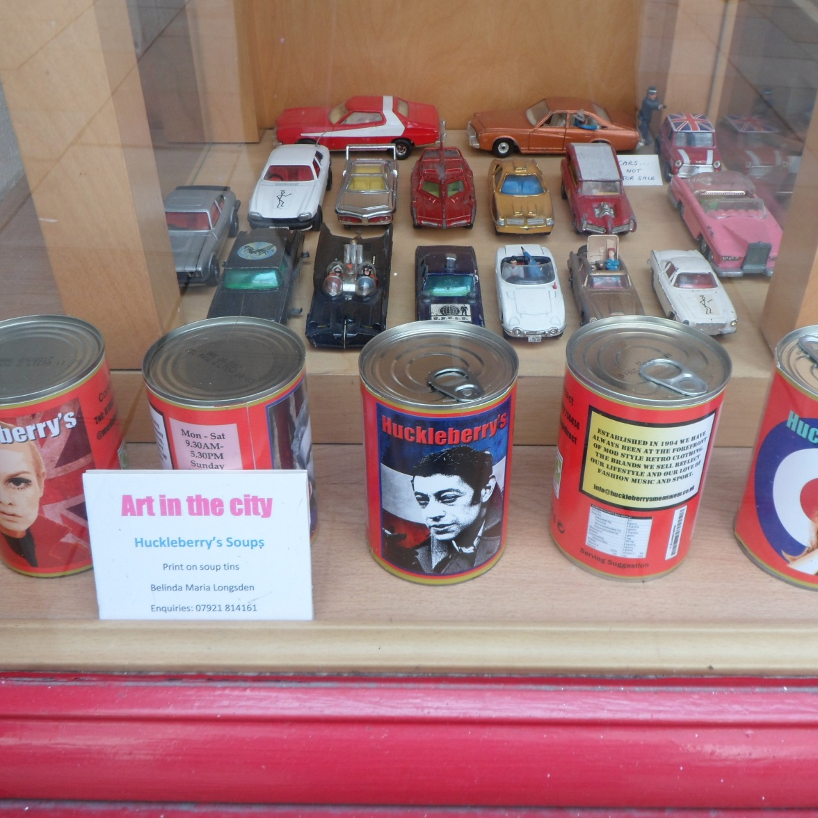 Soups on display at Huckleberrys menswear