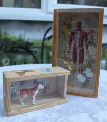 Recycled domino boxes with decoupage and found objects