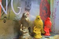 3 little birds - Spray painted ornaments